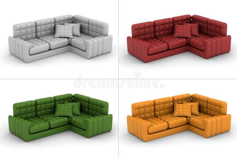 背景皮革集合沙发白色 库存例证