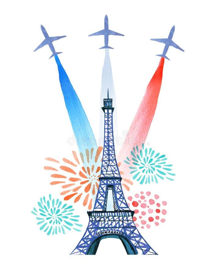 背景监狱庆祝的日烟花标志 法国国庆节贺卡和海报设计 与埃佛尔铁塔,烟花的手拉的水彩例证 库存例证