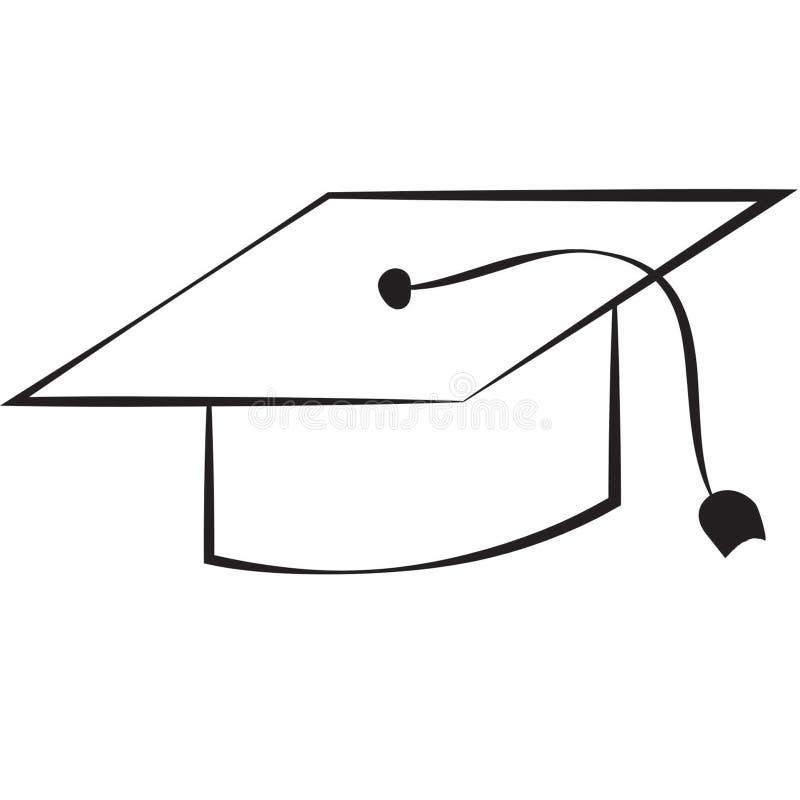 背景盖帽毕业查出的白色 皇族释放例证