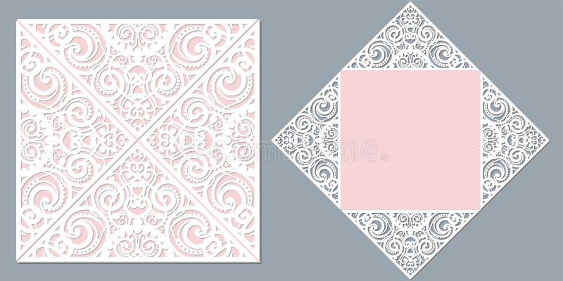 背景看板卡图画邀请向量婚礼白色 对激光切口 库存例证