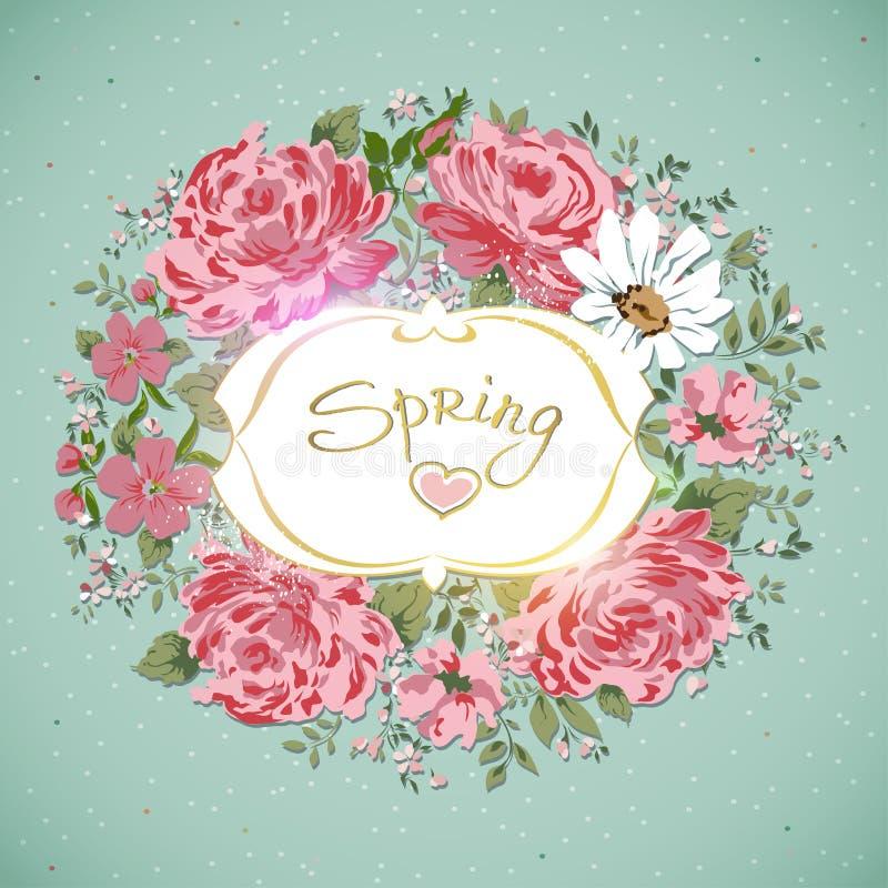 背景看板卡花卉花老喇叭花纹理葡萄酒 花玫瑰,牡丹,春黄菊边界  库存例证