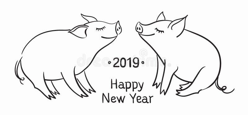 背景看板卡问候页模板普遍性万维网 猪是新年的标志2019年 黑白线性图片