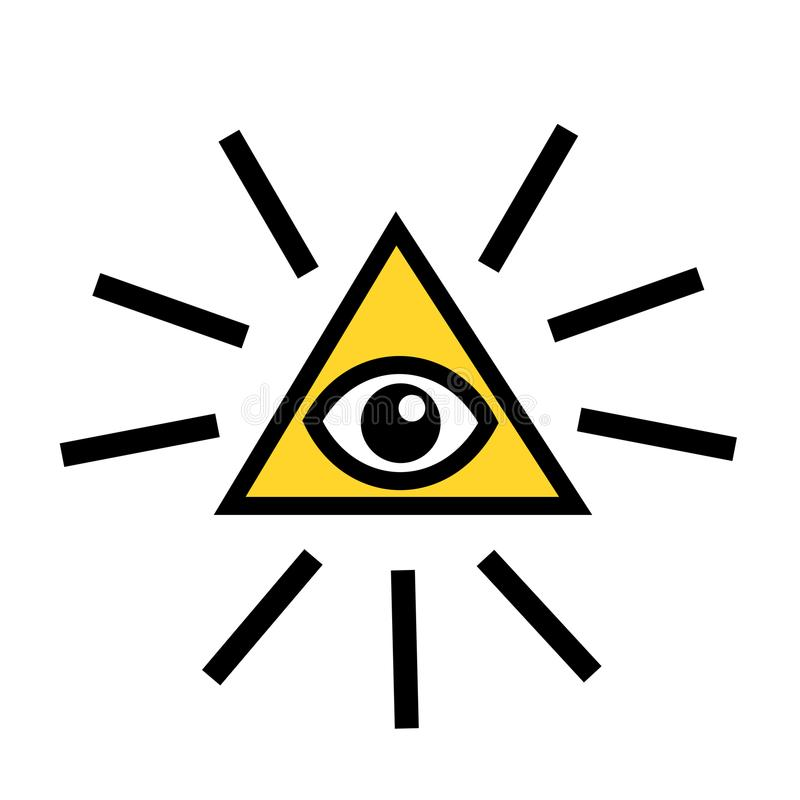 背景眼睛上帝盾白色 向量例证