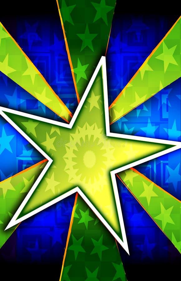 背景破裂了绿色星形 皇族释放例证