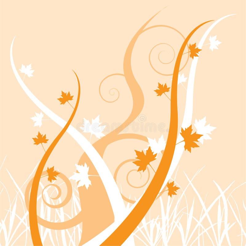 背景秋天留下橡木桔子螺旋 库存例证