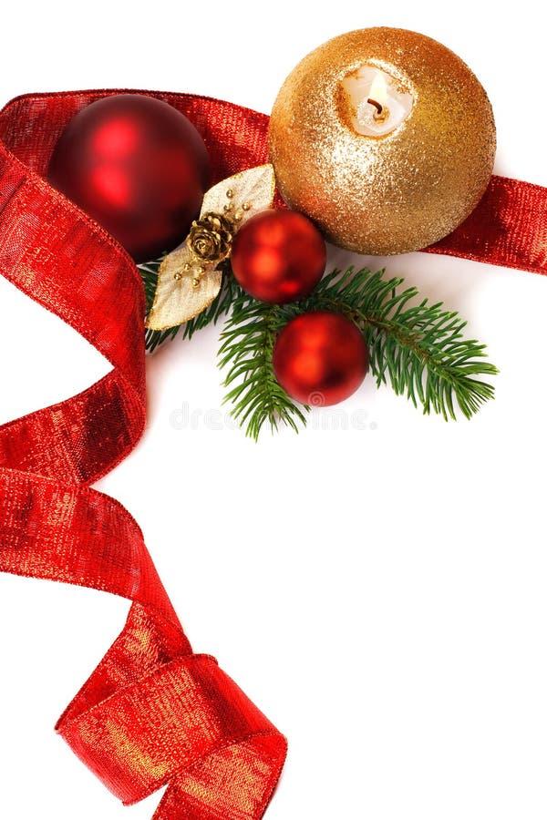 背景空白圣诞节的装饰 免版税图库摄影