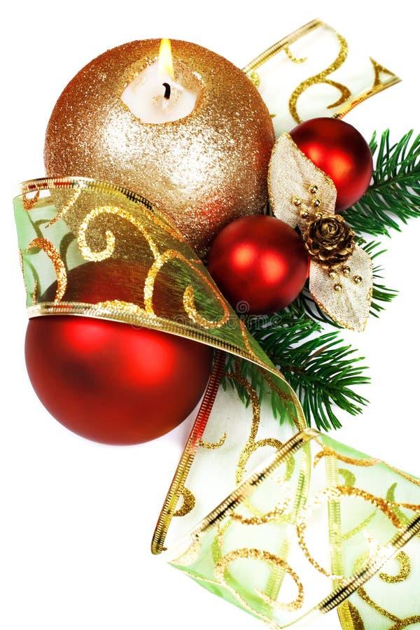 背景空白圣诞节的装饰 库存照片