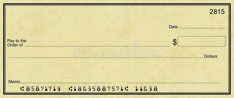背景空白支票光羊皮纸 免版税库存照片
