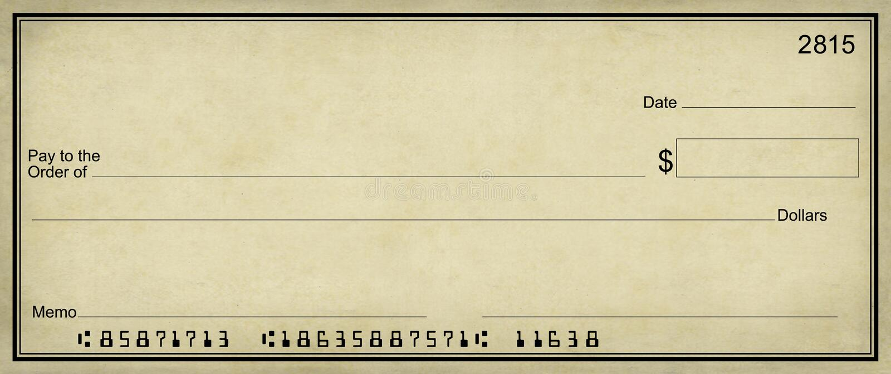 背景空白支票羊皮纸 免版税库存图片