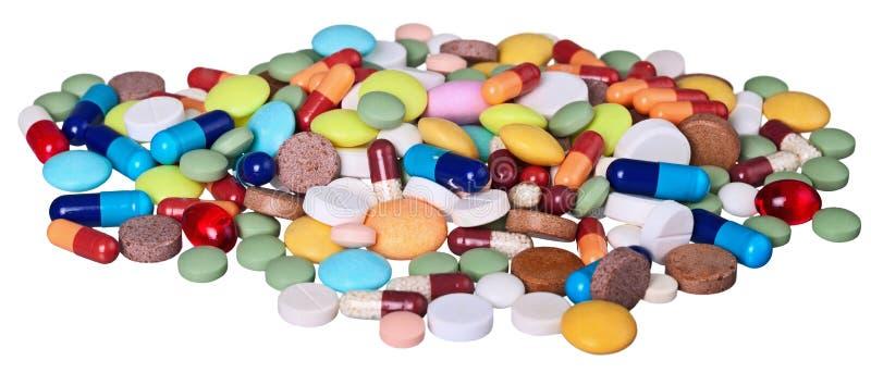 背景空白查出的医疗的药片 库存图片
