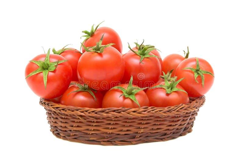 背景空白篮子的蕃茄 免版税库存图片