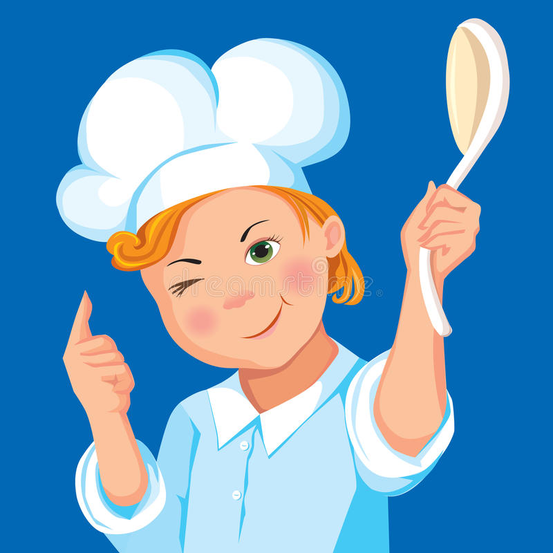 背景穿蓝衣的男孩厨师匙子 库存例证