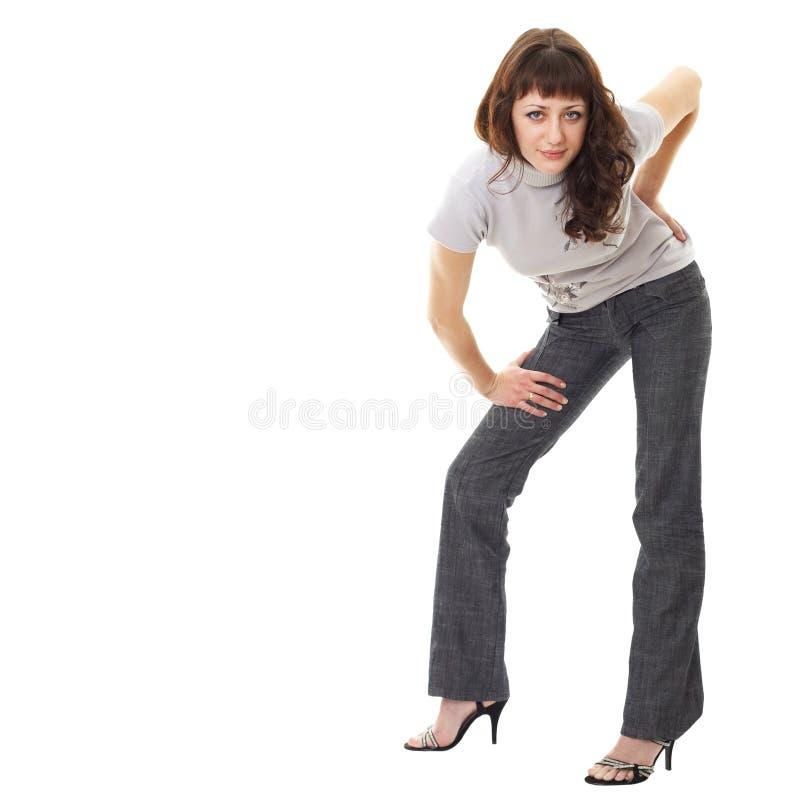 背景突出的白人妇女年轻人 免版税库存照片