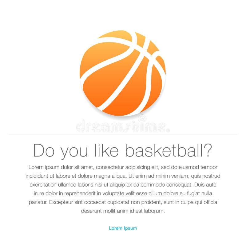 背景篮球图标查出的白色 橙色篮球球 向量例证
