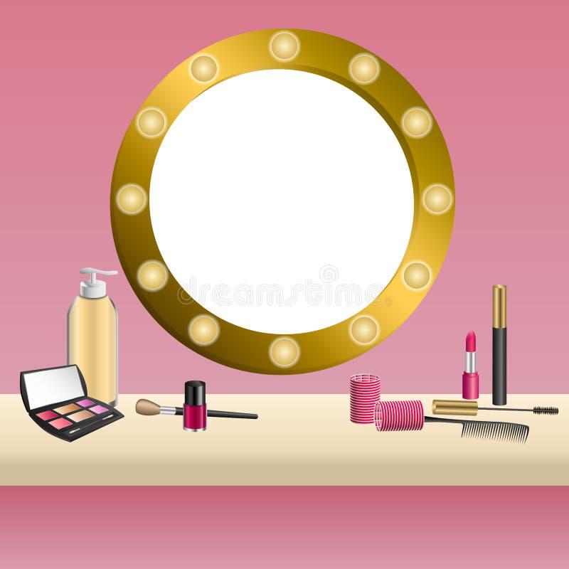背景米黄镜子桃红色化妆用品组成唇膏染睫毛油眼影指甲油框架例证 向量例证