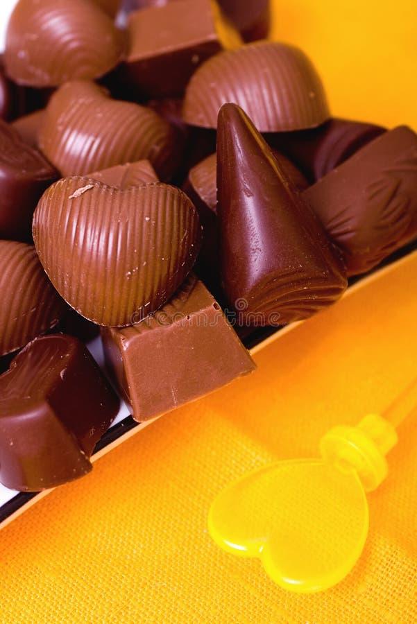 背景糖果巧克力黄色 库存照片