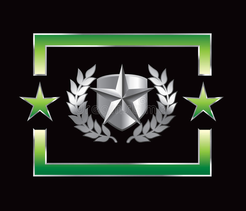 背景绿色盾银星形 向量例证