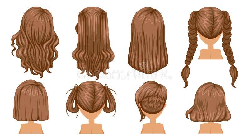 背景美丽的棕色卷曲女孩头发健康查出的粉红色 向量例证