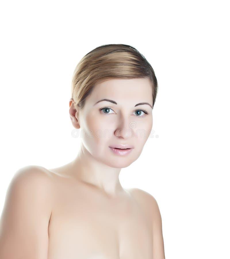 背景美丽的轻的妇女 免版税库存照片