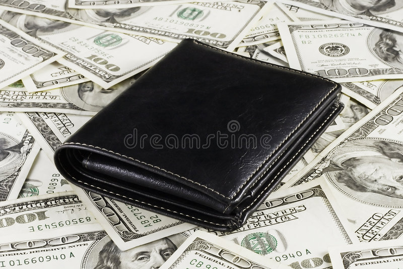 背景美元钱包 库存照片