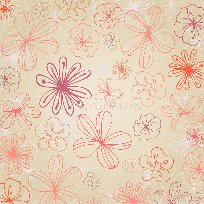 背景美好的花卉夏天 向量例证