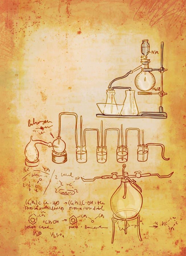 背景老化学实验室 库存例证