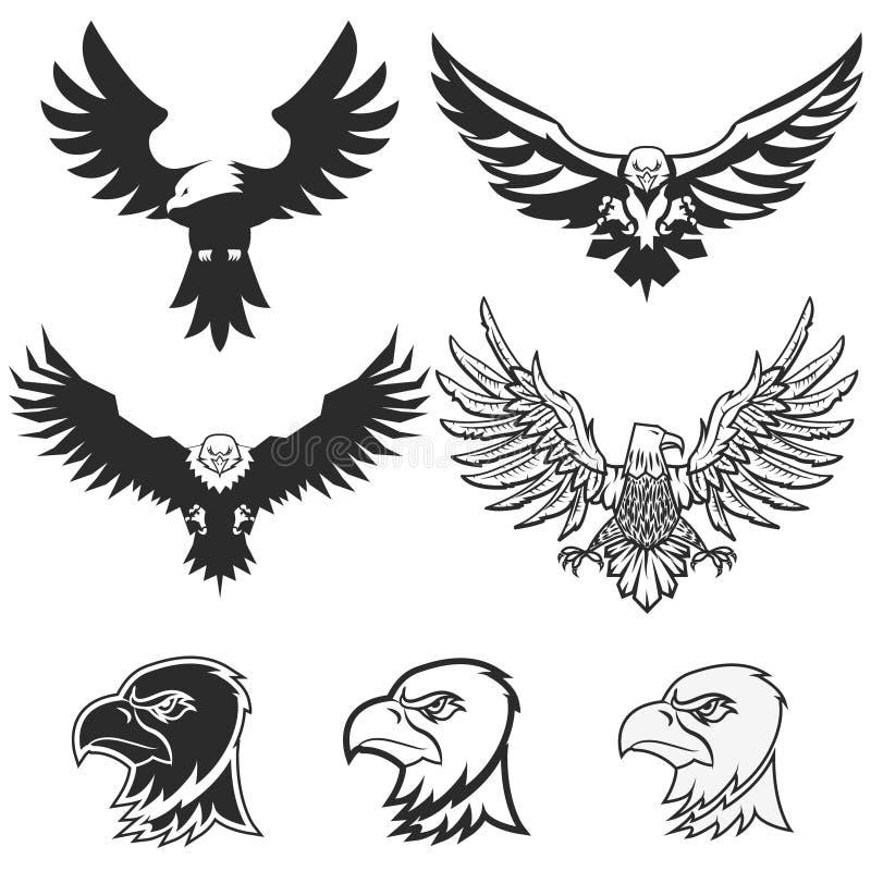 背景老鹰查出在集白色 设计商标的,标签,象征,徽章te元素 向量例证