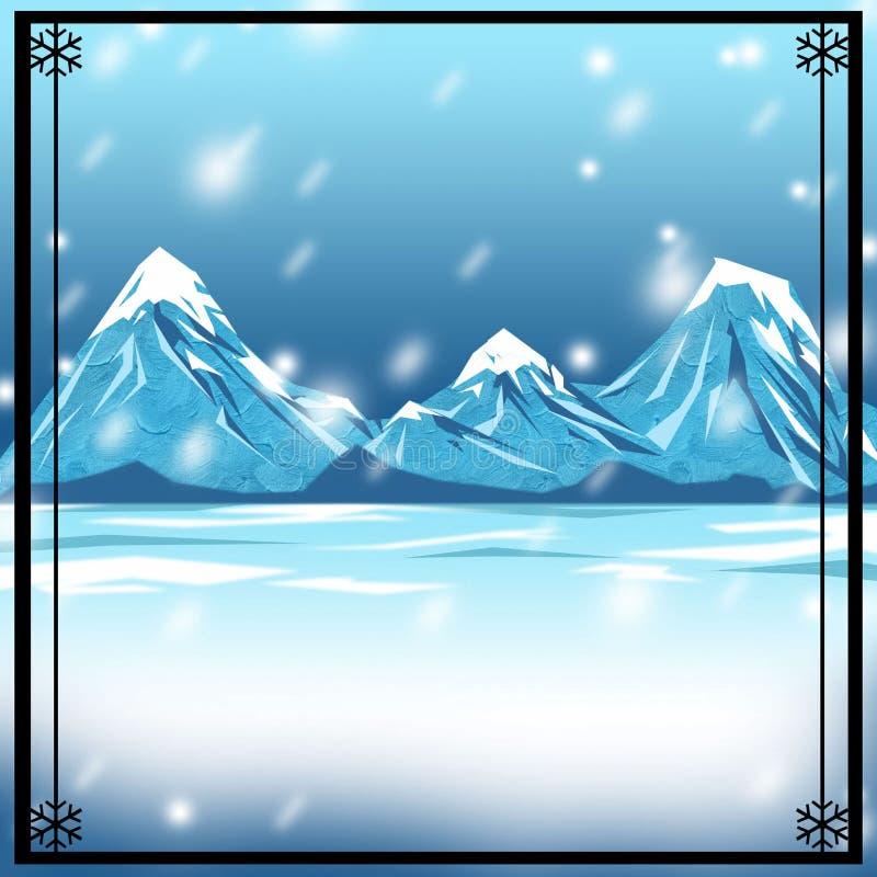 背景背景多雪的冬天 库存图片
