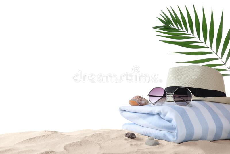 背景背景沙滩上的沙滩物体,文本空间 图库摄影