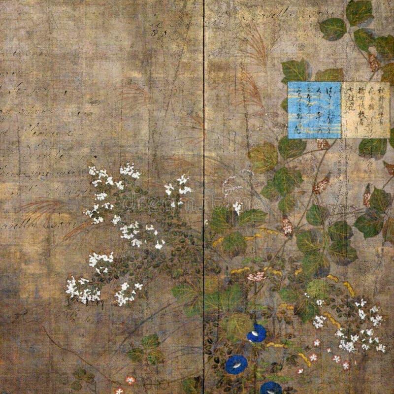 背景花卉剪贴薄葡萄酒 库存图片