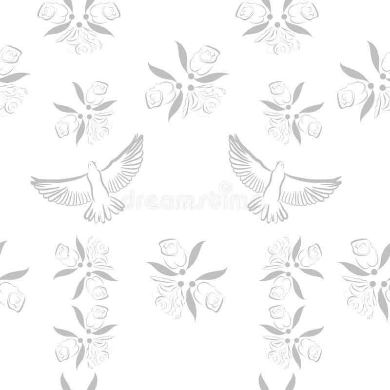 背景花卉无缝的向量 皇族释放例证