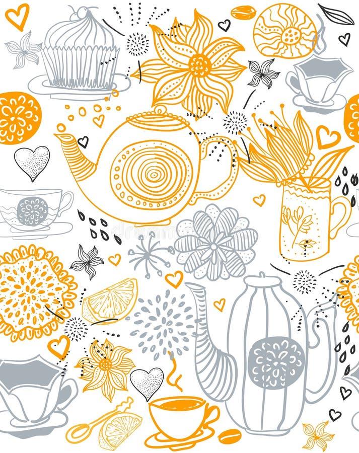背景花卉无缝的茶壶 向量例证图片
