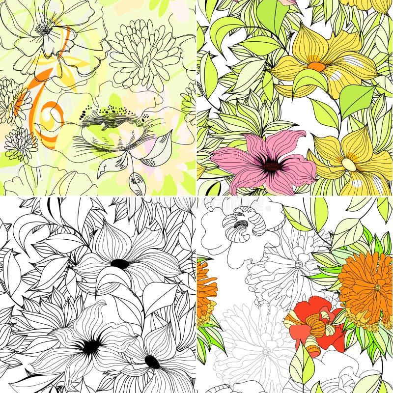 背景花卉无缝的集 库存例证