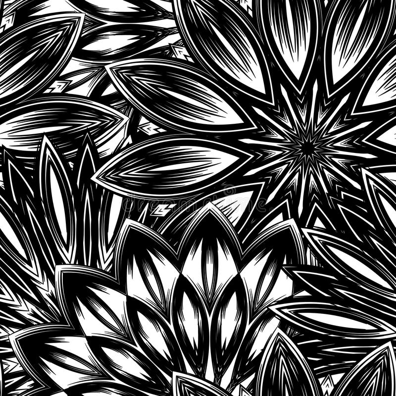 背景花卉无缝 与花的网眼图案手工制造自然背景样式 装饰二进制艺术 向量 库存例证