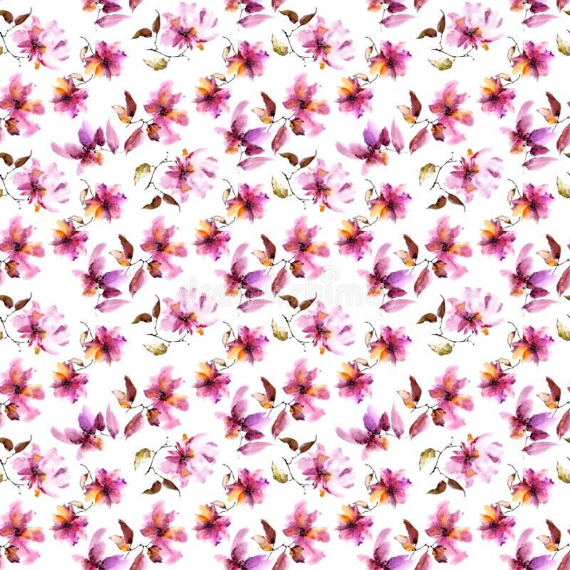 背景花卉无缝 桃红色花纹花样 透明花卉瓣 纺织品样式模板 皇族释放例证