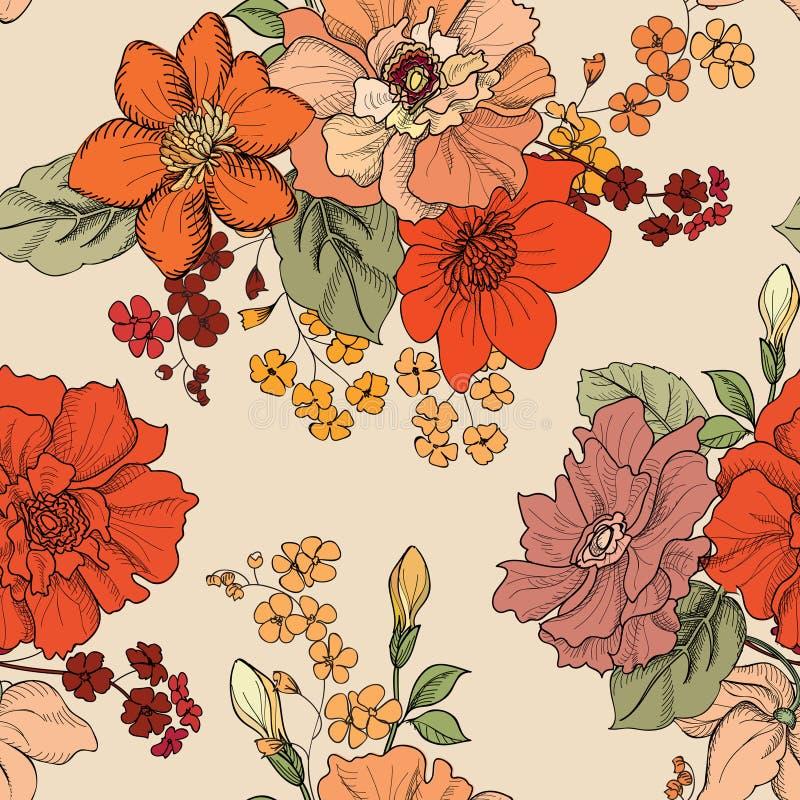 背景花卉无缝 花束弓形象花纹花样无缝小 华丽墙纸 皇族释放例证