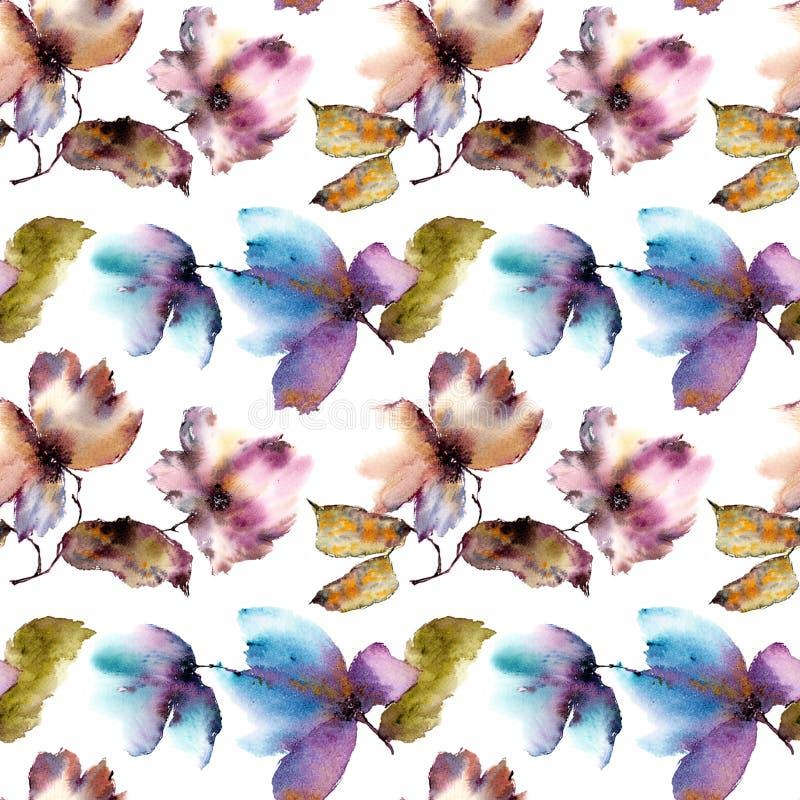 背景花卉无缝 葡萄酒花纹花样 透明花卉瓣 纺织品样式模板 皇族释放例证