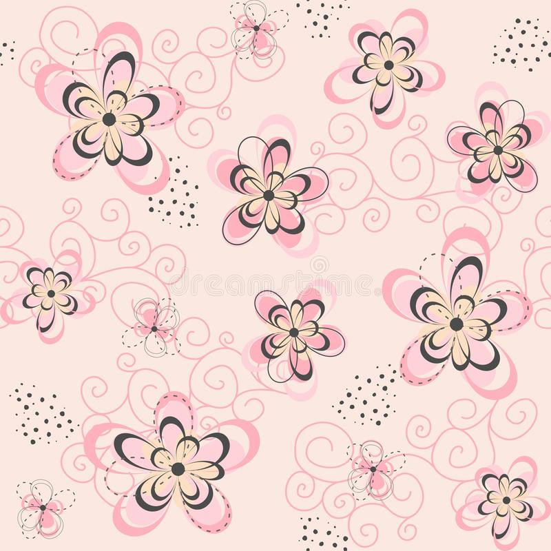 背景花卉桃红色无缝 库存照片