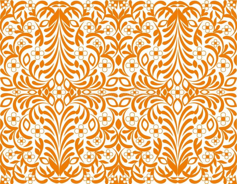 背景花卉橙色无缝的墙纸 皇族释放例证