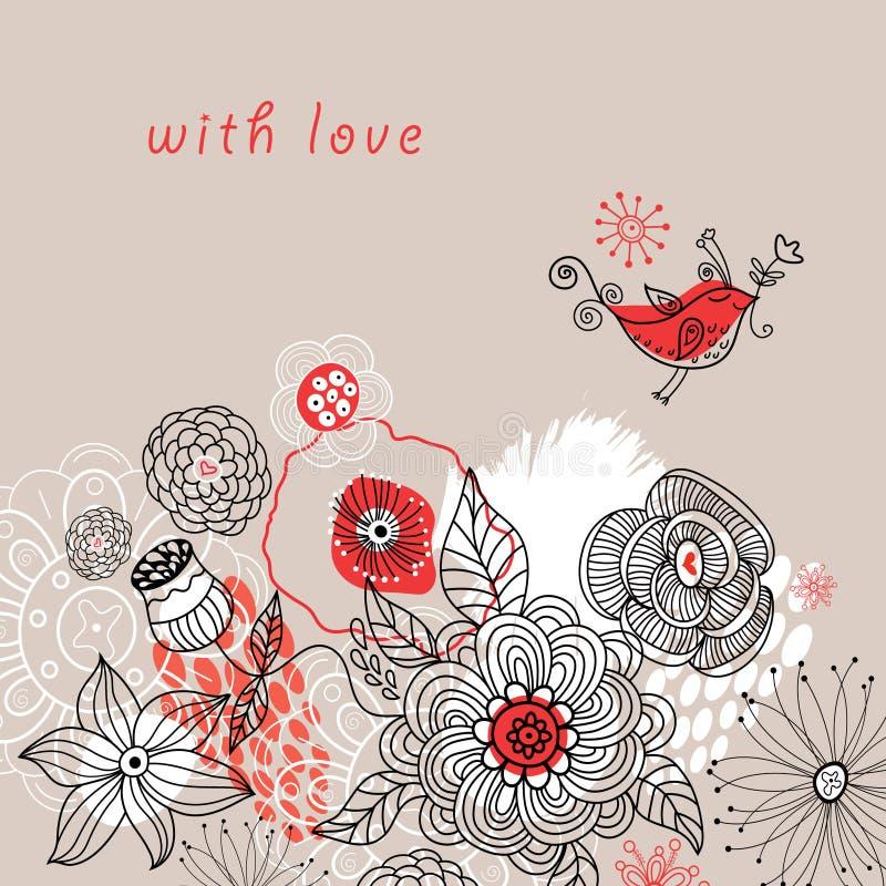 背景花卉浪漫 向量例证