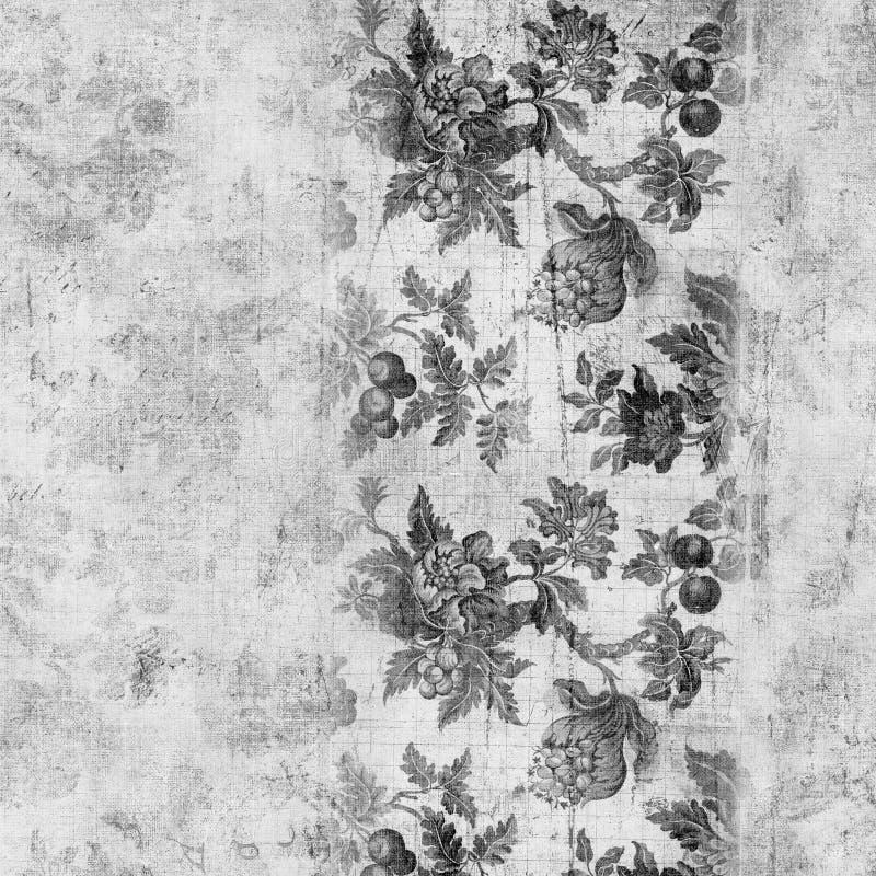背景花卉脏的剪贴薄葡萄酒 向量例证