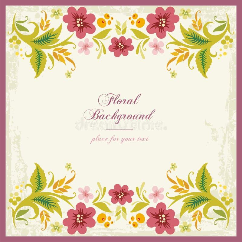 背景花卉装饰猪圈葡萄酒 库存例证