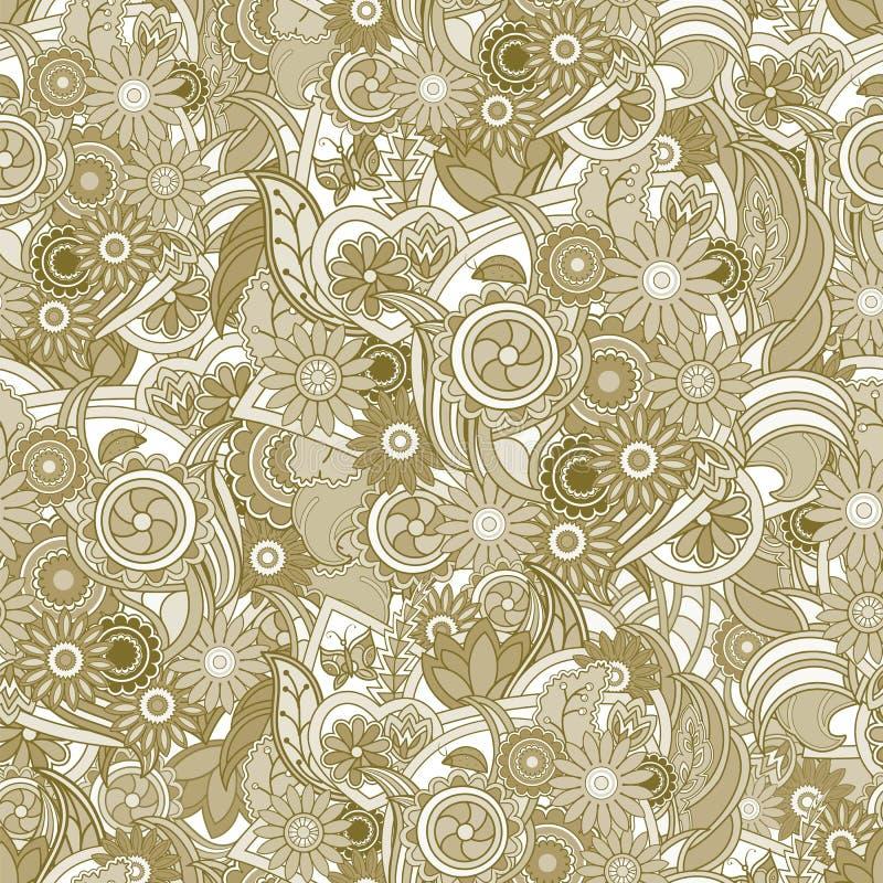 背景花卉黄色 与花和gree的无缝的纹理 库存例证