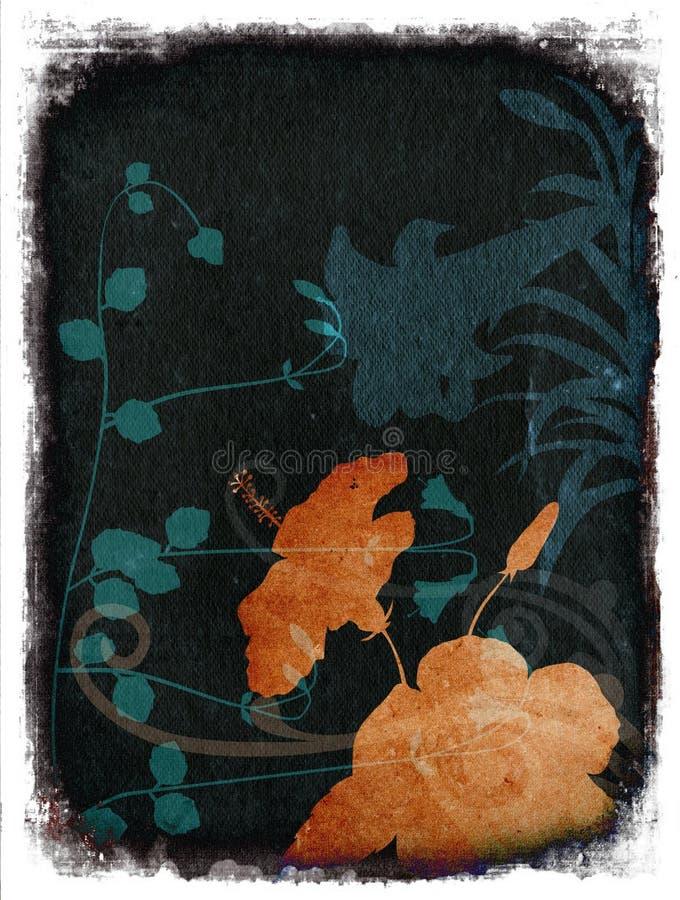 背景花卉grunge桔子深青色 库存例证