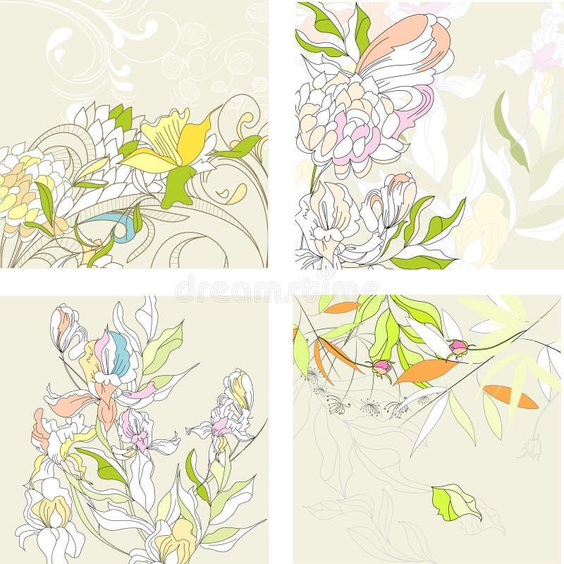 背景花卉set1 皇族释放例证