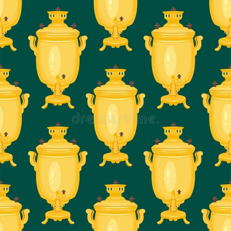 背景茶俄国式茶炊俄国传统茶壶无缝的样式烹调百吉卷食物boublik传染媒介例证 库存例证