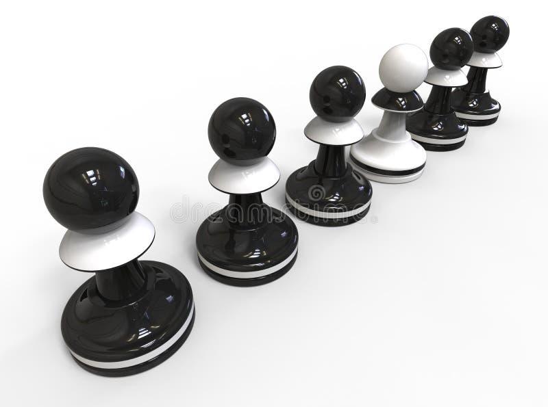 背景董事会棋近突出二的西洋棋棋子概念木 皇族释放例证