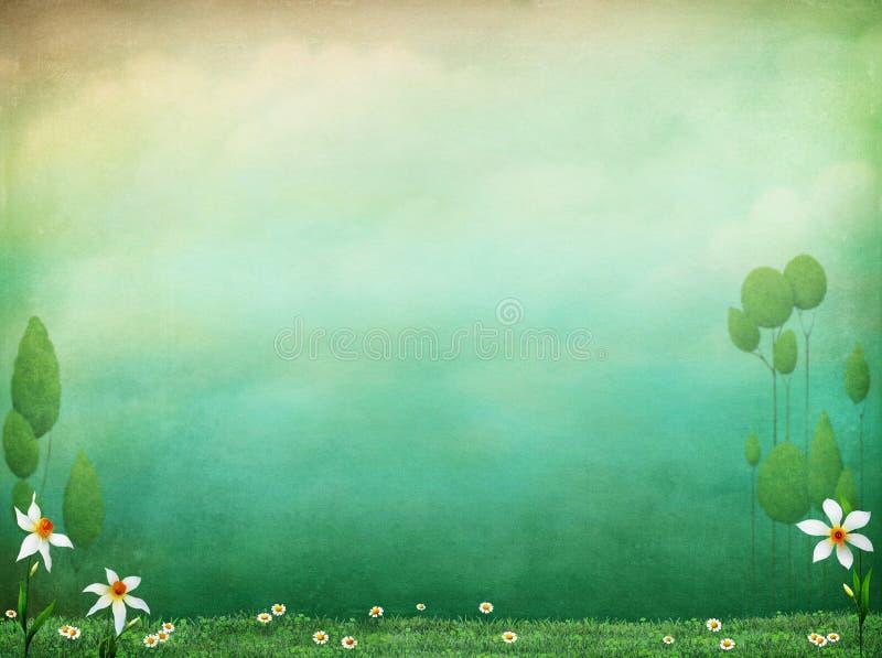 背景蒲公英充分的草甸春天黄色 皇族释放例证