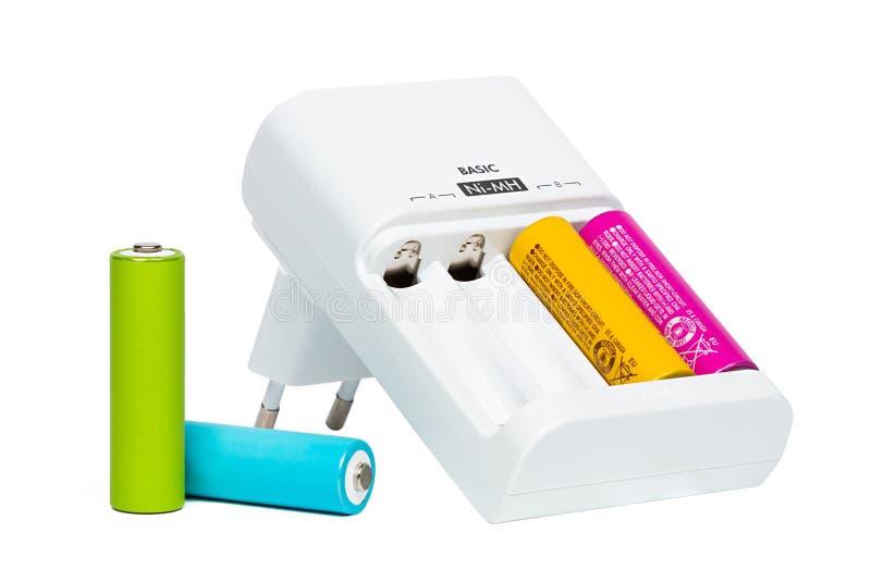 背景蓄电池充电器查出的对象白色 免版税库存图片