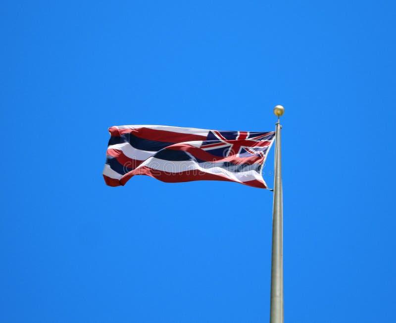 背景蓝旗信号夏威夷状态 库存照片